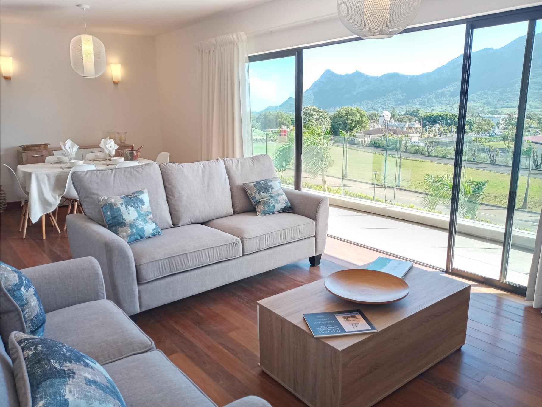 A LOUER – Charmantappartementcontemporain meubléet équipé de147 m2bénéficiant d'une belle vue montagne idéalementsitué aux Promenadesd'Helvétia Moka